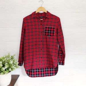 Madewell Black Red Plaid Button Down Top